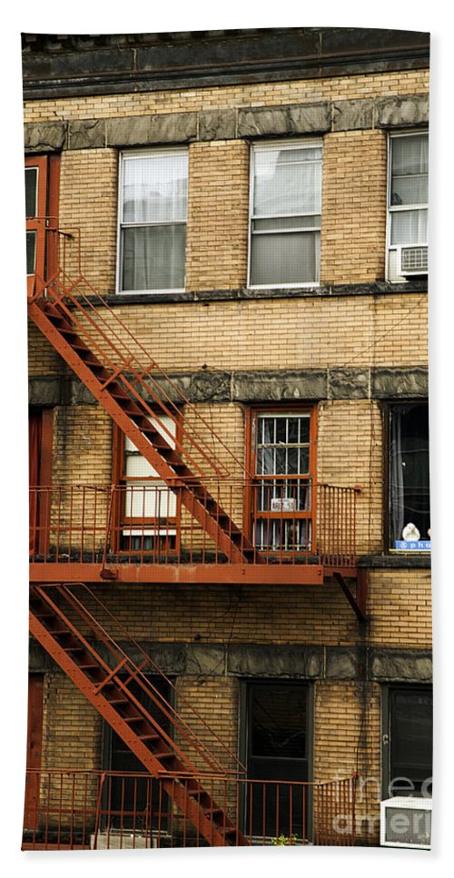 Fire Escapes Bath Sheet featuring the photograph Fire Escapes - Nyc by Madeline Ellis