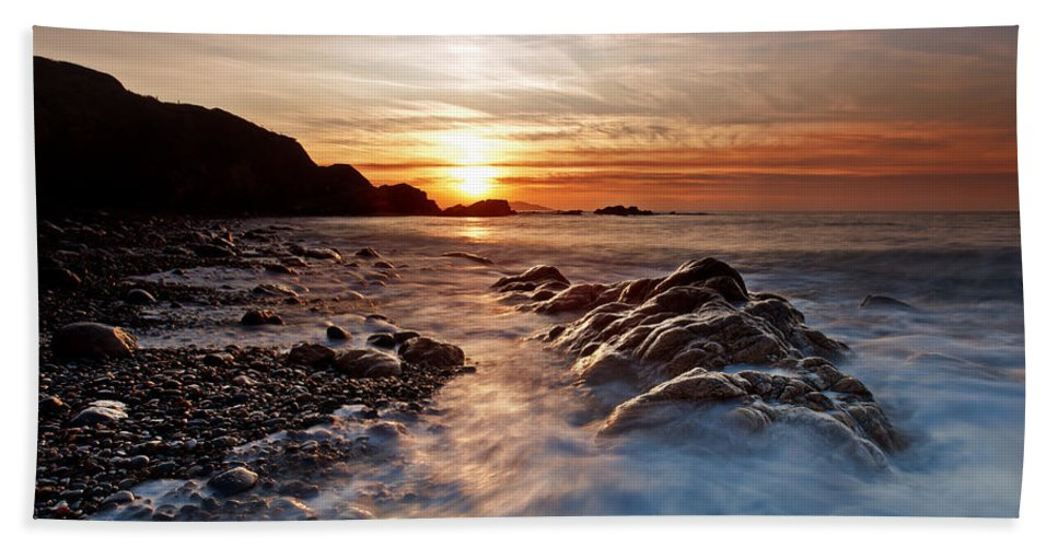 Seascape Bath Sheet featuring the photograph Golden Days by Beverly Cash