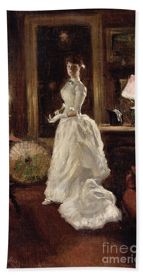 Interior Bath Sheet featuring the painting Interior Scene With A Lady In A White Evening Dress by Paul Fischer