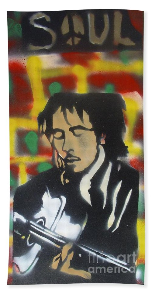 Hip Hop Bath Sheet featuring the painting Marley Soul Guitar by Tony B Conscious