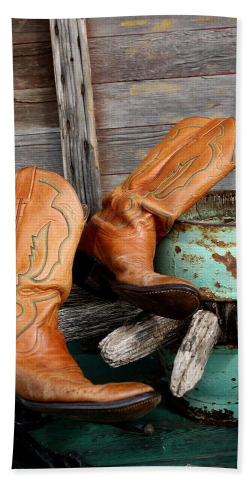 Boots Bath Sheet featuring the photograph Old Cowboy Boots by Terry Fleckney