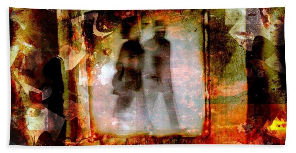 Fania Simon Bath Sheet featuring the mixed media Our Future by Fania Simon