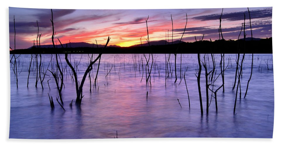 Sunset Bath Sheet featuring the photograph Purple Lake by Guido Montanes Castillo