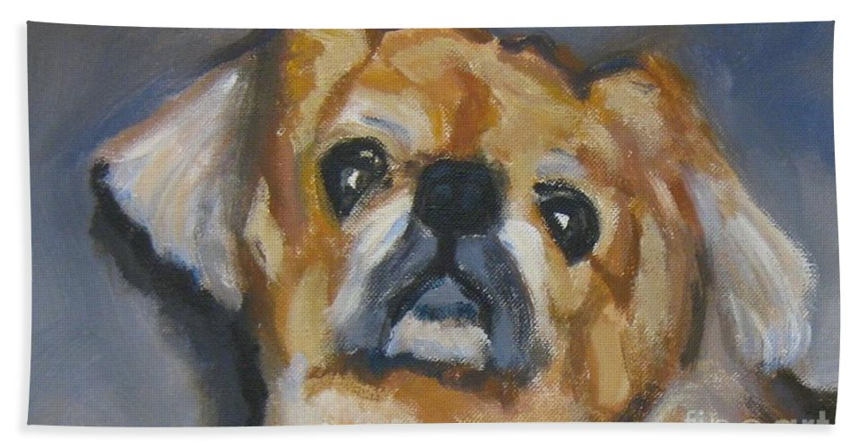Dog Hand Towel featuring the painting Sad Eyes In Halifax by John Malone