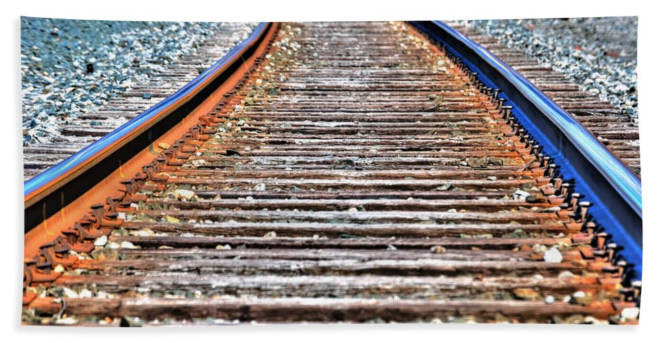 Hand Towel featuring the photograph 0002 Train Tracks by Michael Frank Jr