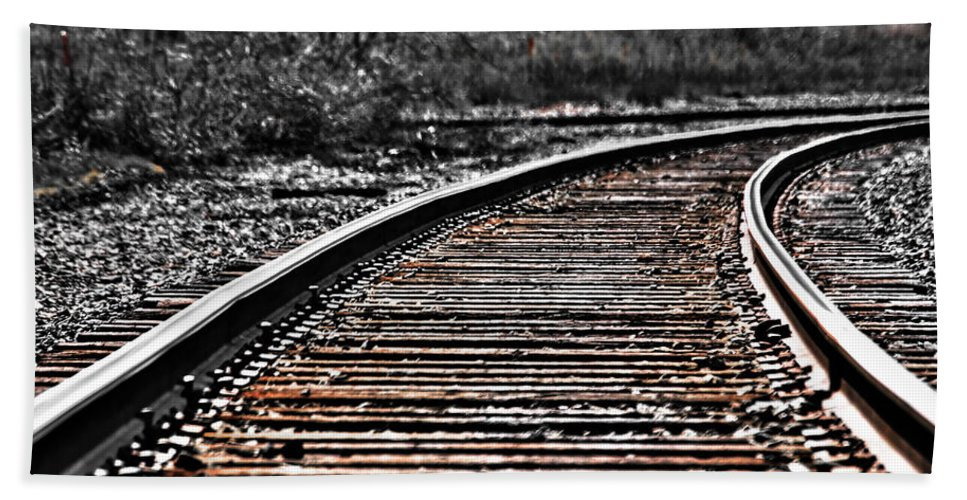 Hand Towel featuring the photograph 0003 Train Tracks by Michael Frank Jr