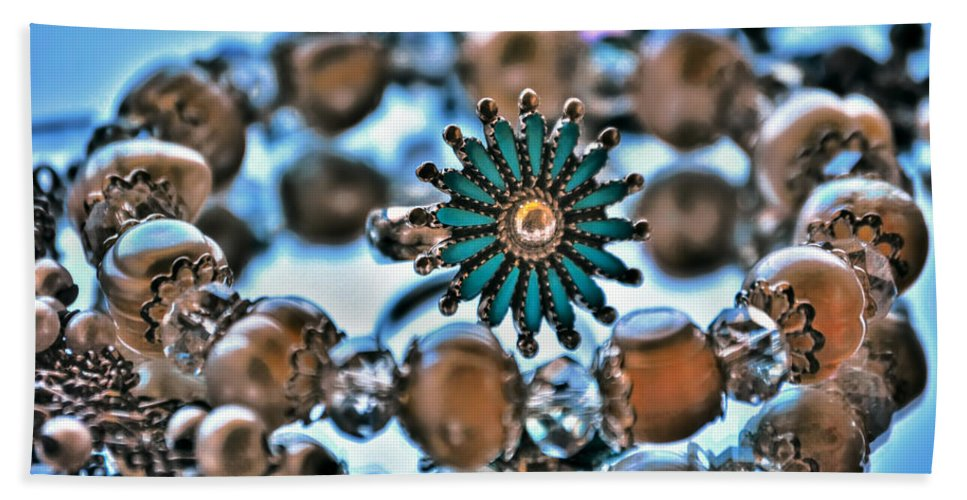 Hand Towel featuring the photograph 0003 Turquoise And Pearls by Michael Frank Jr