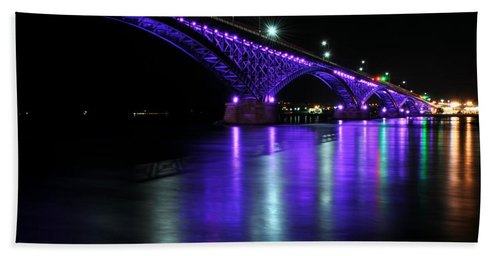Hand Towel featuring the photograph 002 Peace Bridge Honoring Breast Cancer 2012 Series by Michael Frank Jr