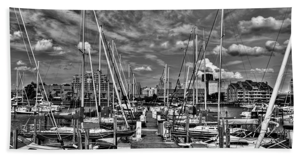 Bath Sheet featuring the photograph 005bw On A Summers Day Erie Basin Marina Summer Series by Michael Frank Jr