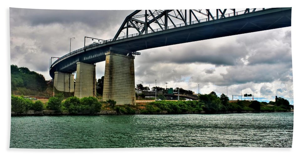 Bath Sheet featuring the photograph 006 Stormy Skies Peace Bridge Series by Michael Frank Jr