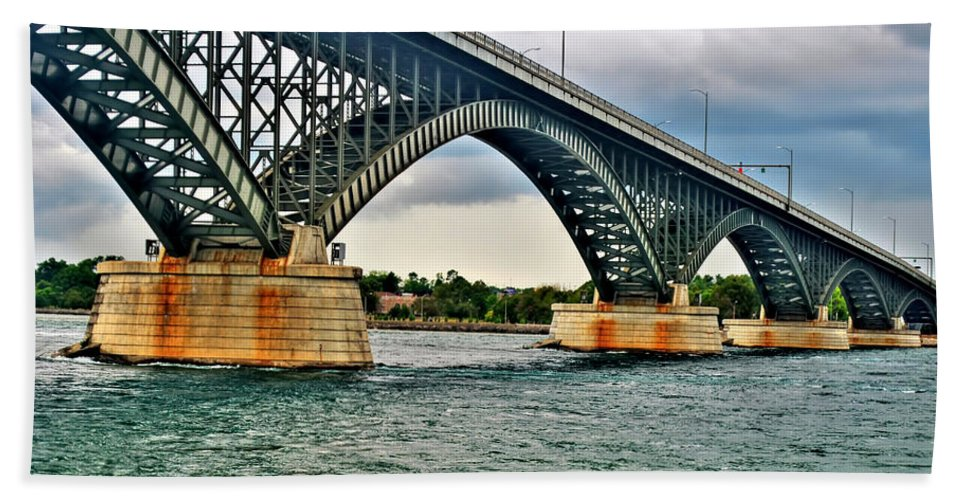 Bath Sheet featuring the photograph 008 Stormy Skies Peace Bridge Series by Michael Frank Jr