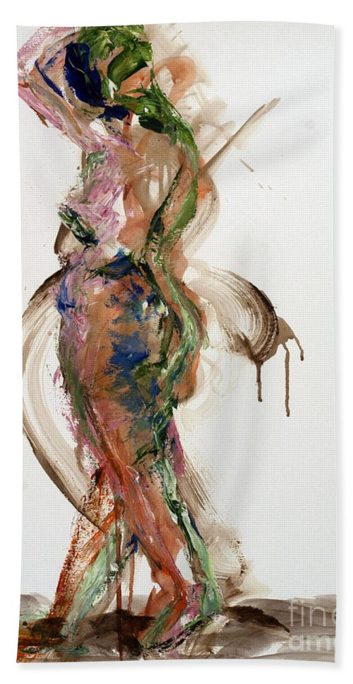 Standing Hand Towel featuring the painting 04791 Perplexed by AnneKarin Glass