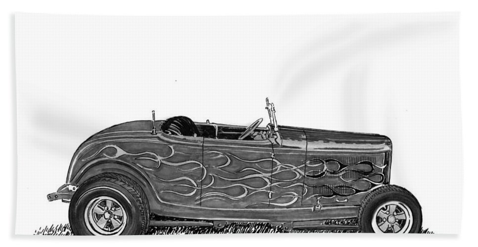 Framed Prints Of Pen And Ink Wash Paintings Of Cars From The 30s Hand Towel featuring the painting 1932 Ford Hi Boy Hot Rod by Jack Pumphrey