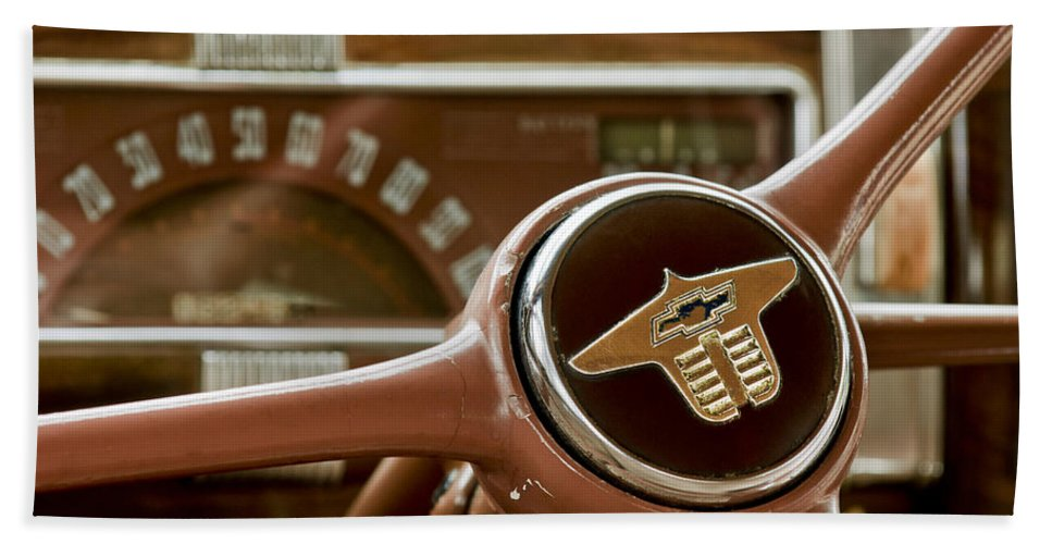 1941 Chevrolet Hand Towel featuring the photograph 1941 Chevrolet Steering Wheel by Jill Reger