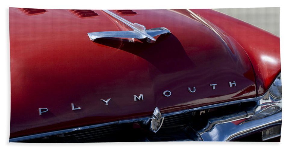 1956 Plymouth Bath Sheet featuring the photograph 1956 Plymouth Hood Ornament by Jill Reger