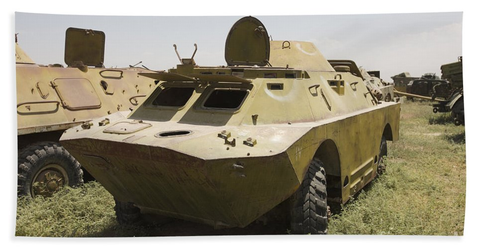 4x4 Hand Towel featuring the photograph A Brdm-2 Combat Reconnaissancepatrol by Terry Moore