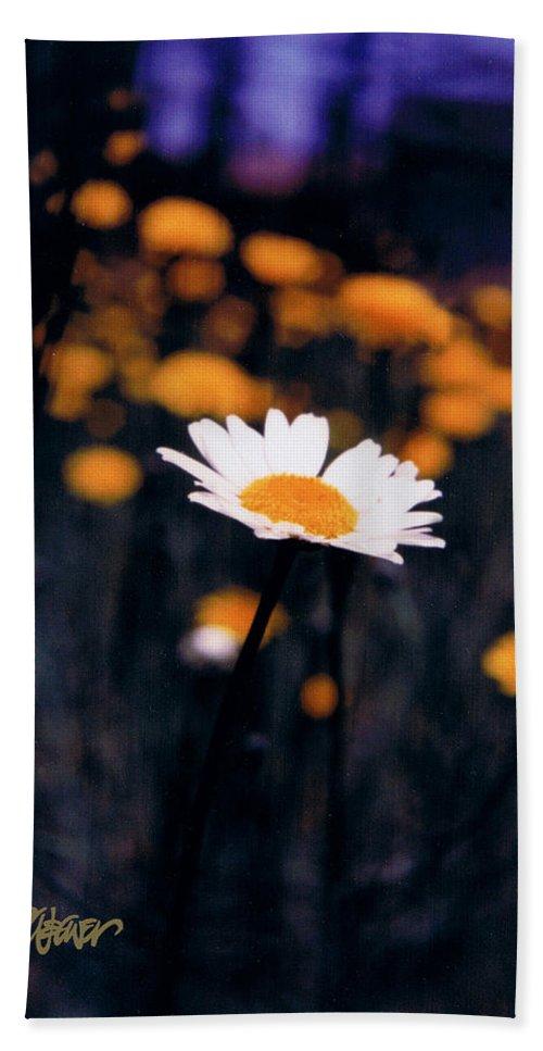 A Daisy Alone Bath Sheet featuring the photograph A Daisy Alone by Seth Weaver