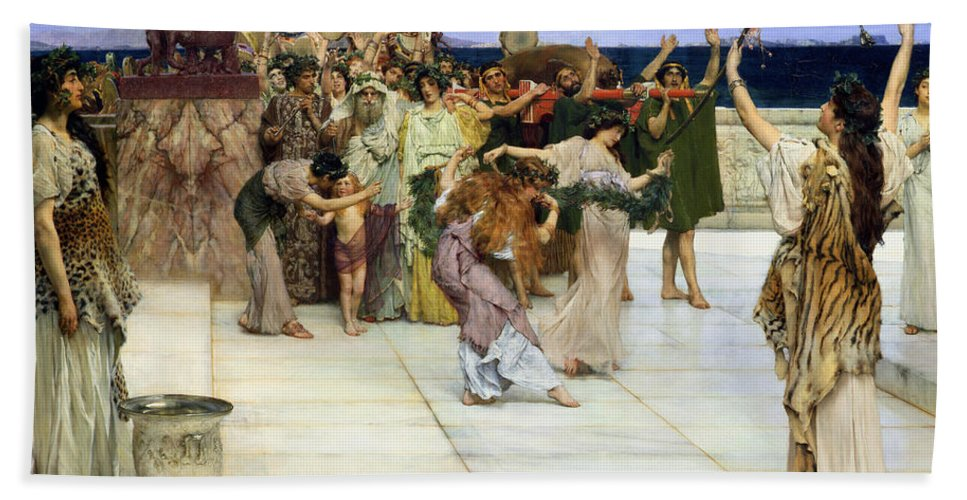 Dedication Bath Towel featuring the painting A Dedication To Bacchus by Sir Lawrence Alma-Tadema