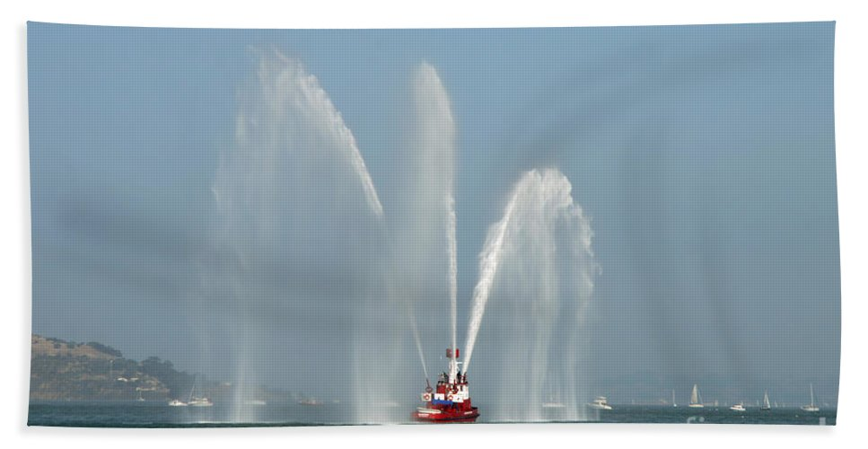 Fireboat Hand Towel featuring the photograph A Fire Boat by Ted Kinsman