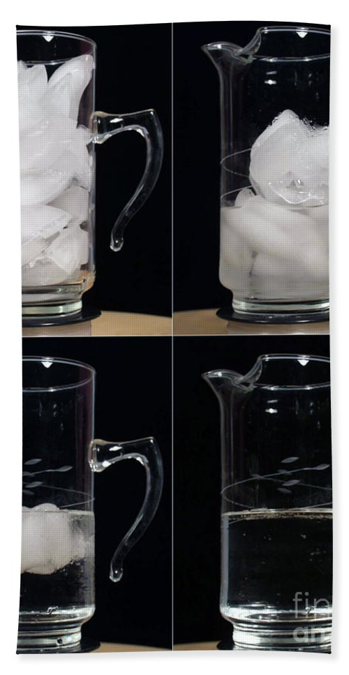 Ice Hand Towel featuring the photograph A Pitcher Of Ice Melts Over 4 Hours by Ted Kinsman