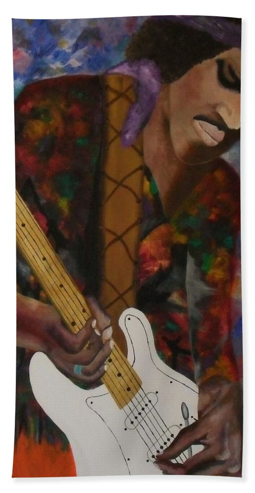 Music Bath Sheet featuring the painting Abstract Jimi Hendrix by Paul F Labarbera