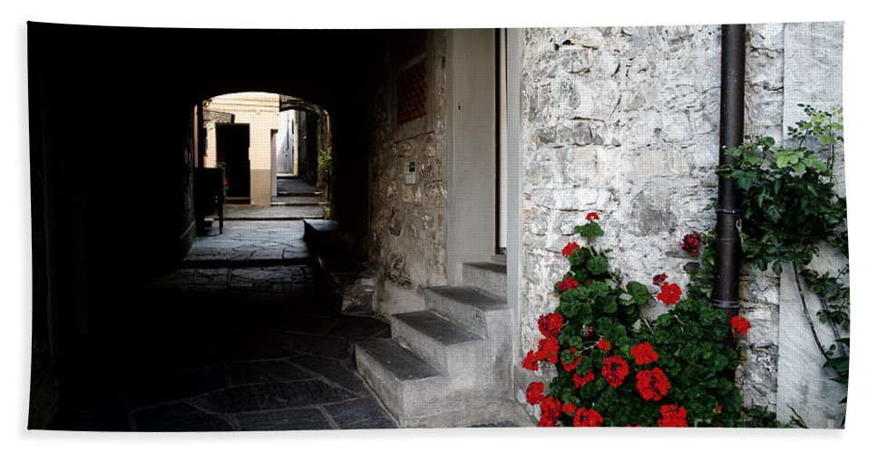 Alley Bath Sheet featuring the photograph Alley With Arches by Mats Silvan