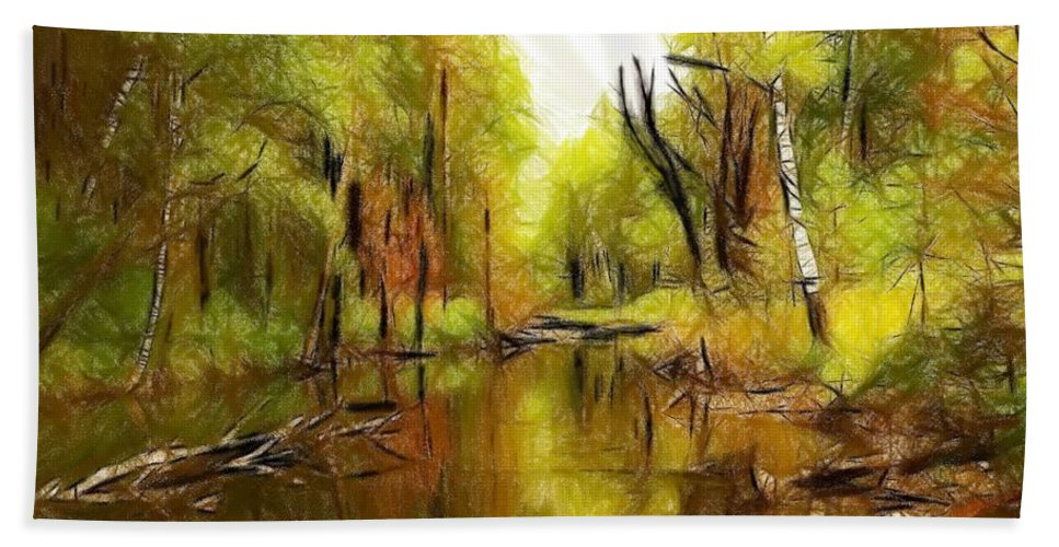 River Water Wood Forest Tree Trees Landscape Nature Green Reflection Expressionism Bath Sheet featuring the pastel Along The River by Steve K