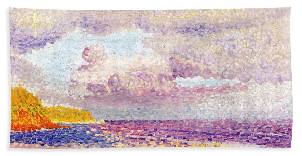 An Incoming Storm Bath Sheet featuring the painting An Incoming Storm by Henri-Edmond Cross