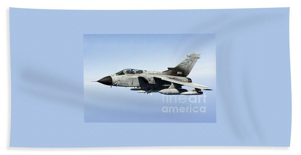 50 Stormo Bath Sheet featuring the photograph An Italian Air Force Tornado Ids Armed by Gert Kromhout