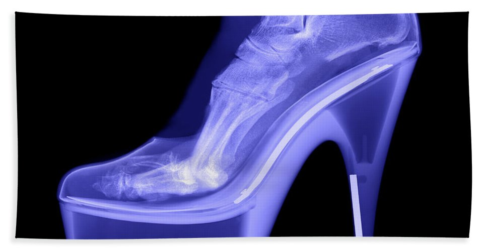 Shoe Hand Towel featuring the photograph An X-ray Of A Foot In A High Heel Shoe by Ted Kinsman
