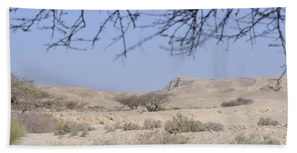 Israel Bath Sheet featuring the photograph Aravah Desert Landscape by Shay Levy