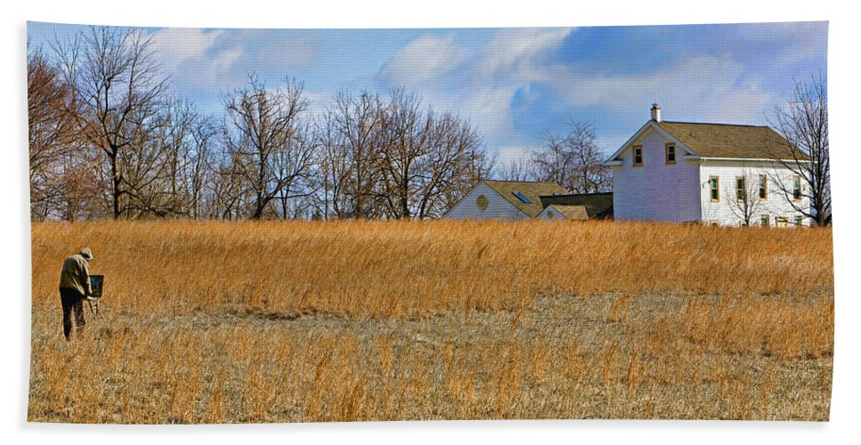 Bucks County Bath Sheet featuring the photograph Artist In Field by William Jobes