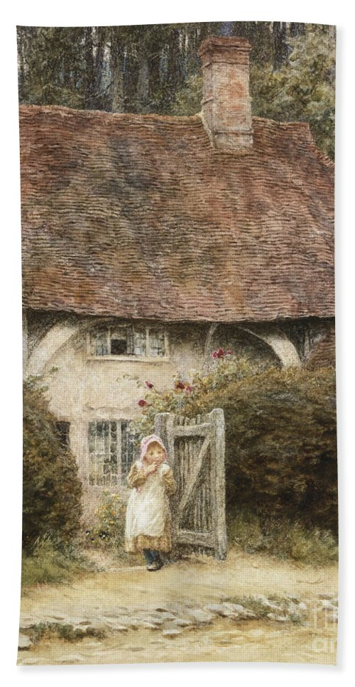English; Landscape; C19th; C20th; Victorian; Exterior; Gateway; Female; Girl; Child; Path; Country; Lane Hand Towel featuring the painting At The Cottage Gate by Helen Allingham