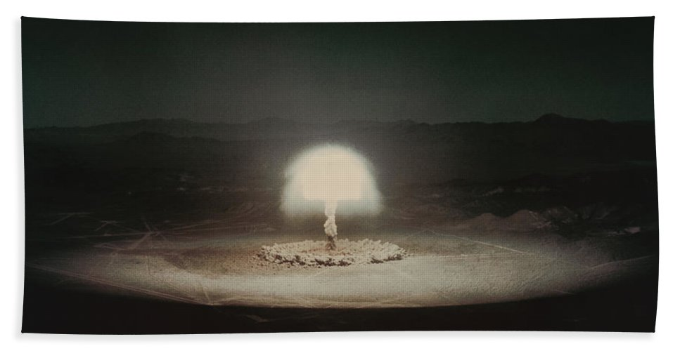 Explosion Hand Towel featuring the photograph Atomic Bomb Test by Science Source