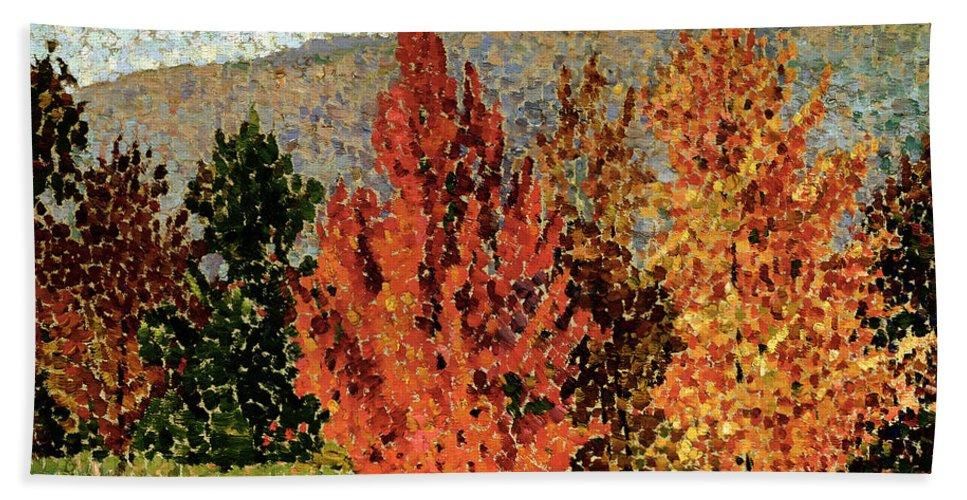 Autumn Landscape Bath Sheet featuring the painting Autumn Landscape by Henri-Edmond Cross