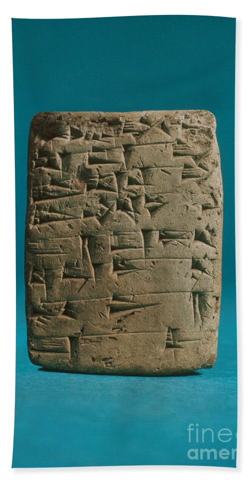 History Hand Towel featuring the photograph Babylonian Clay Tablet by Science Source