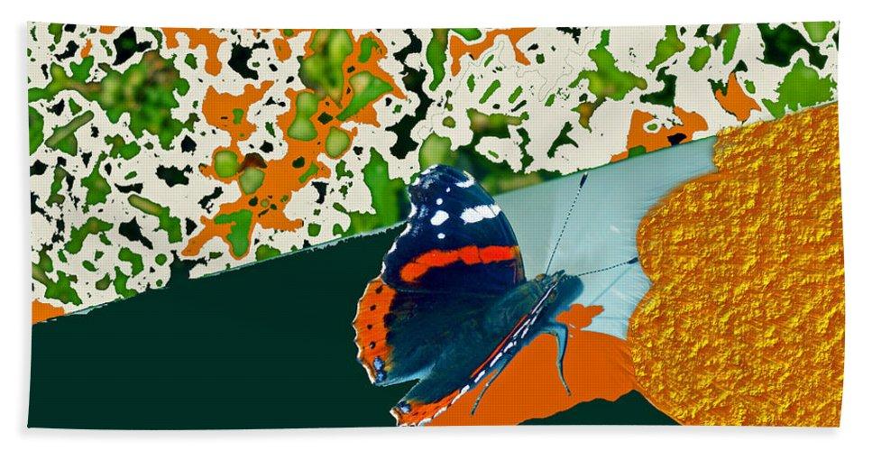Augusta Stylianou Hand Towel featuring the digital art Beautiful Butterfly On Gold by Augusta Stylianou