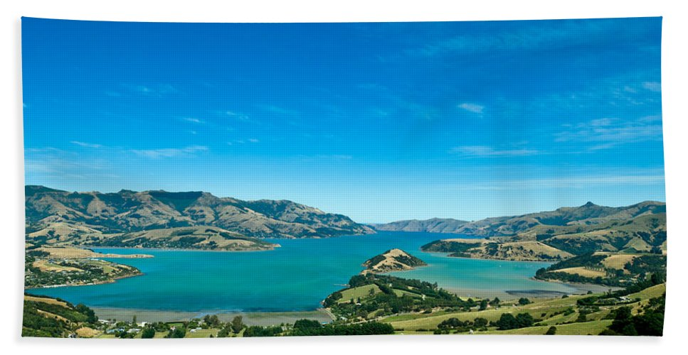 Amazing Bath Sheet featuring the photograph Beautiful Summer Day View Into The Akaroa Harbour by U Schade