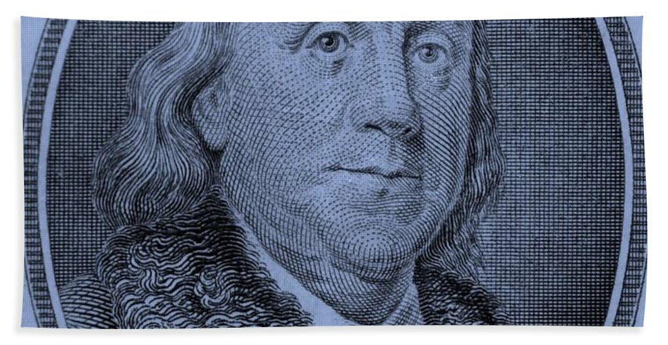 Ben Franklin Hand Towel featuring the photograph Ben Franklin In Cyan by Rob Hans