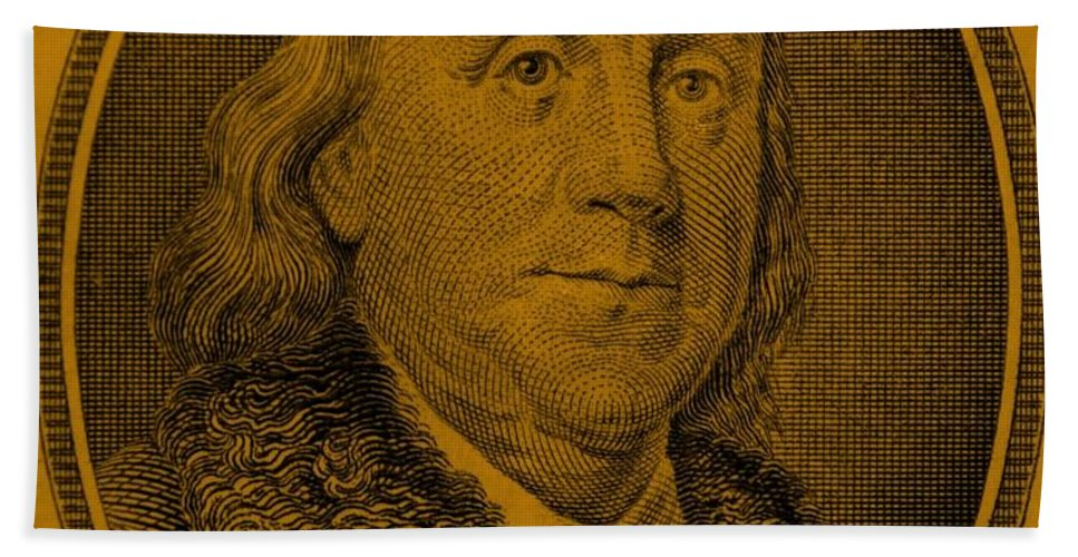 Ben Franklin Hand Towel featuring the photograph Ben Franklin In Orange by Rob Hans