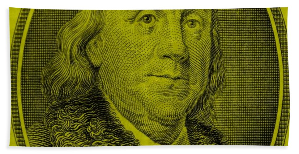 Ben Franklin Hand Towel featuring the photograph Ben Franklin In Yellow by Rob Hans