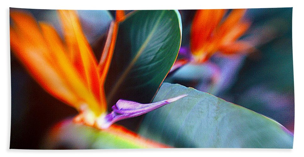 Flower Bath Sheet featuring the photograph Bird Of Paradise by La Rae Roberts
