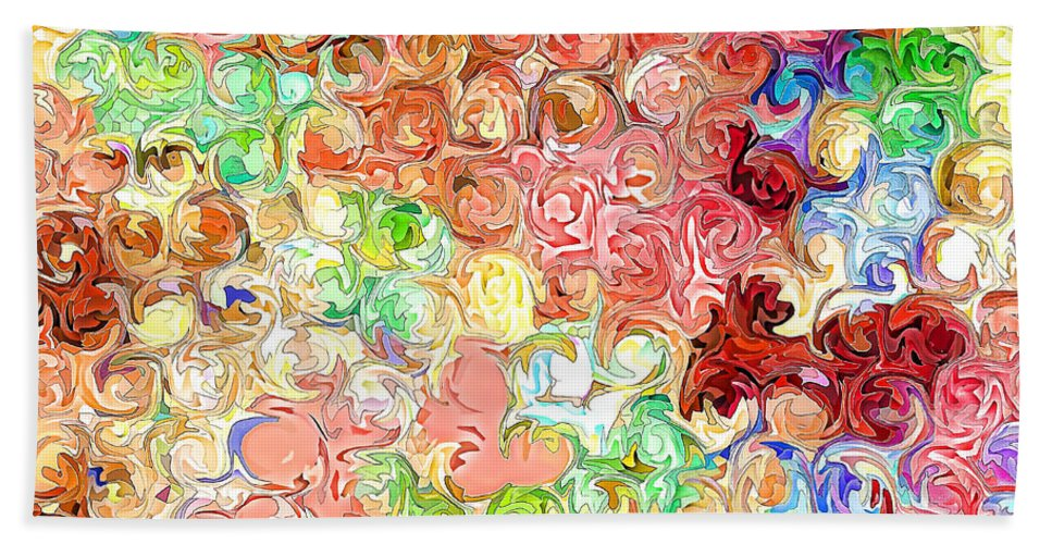 Abstract Bath Sheet featuring the digital art Bright Reflections by Debbie Portwood