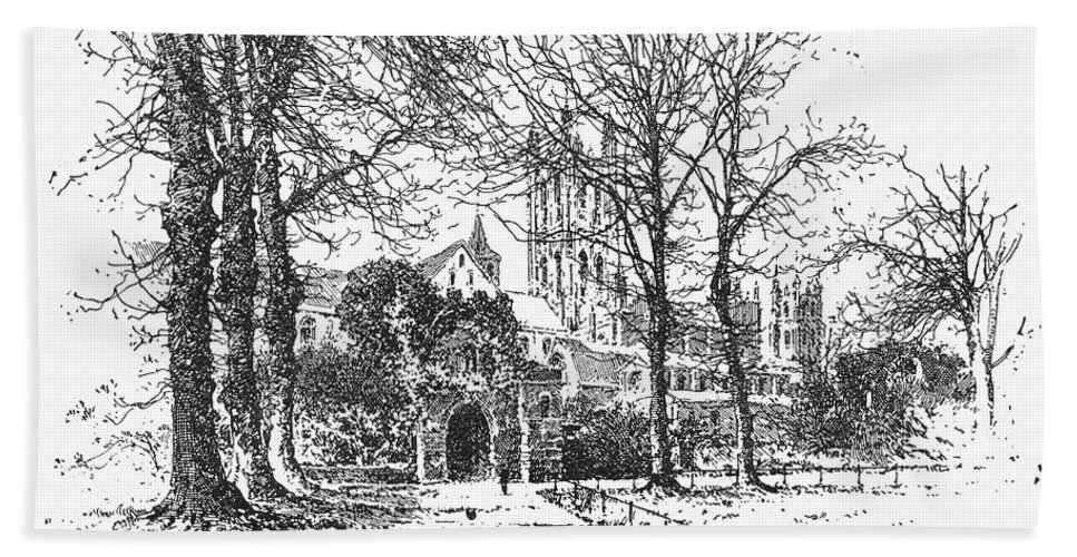 1896 Hand Towel featuring the photograph Canterbury Cathedral by Granger