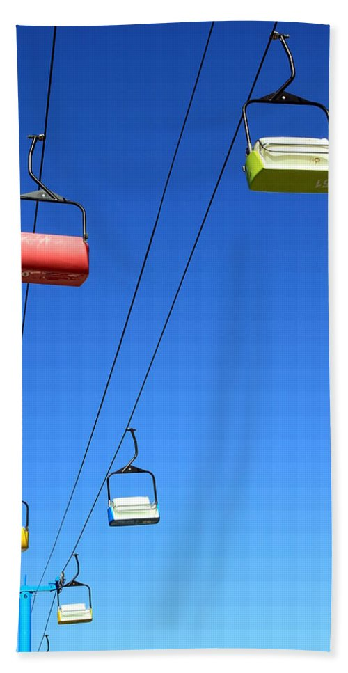 Snow Bath Sheet featuring the photograph Chairlift Cars by Valentino Visentini