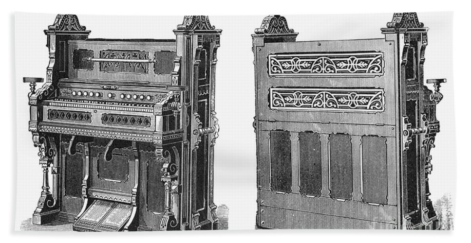 19th Century Hand Towel featuring the photograph Chapel Organ, 19th Century by Granger