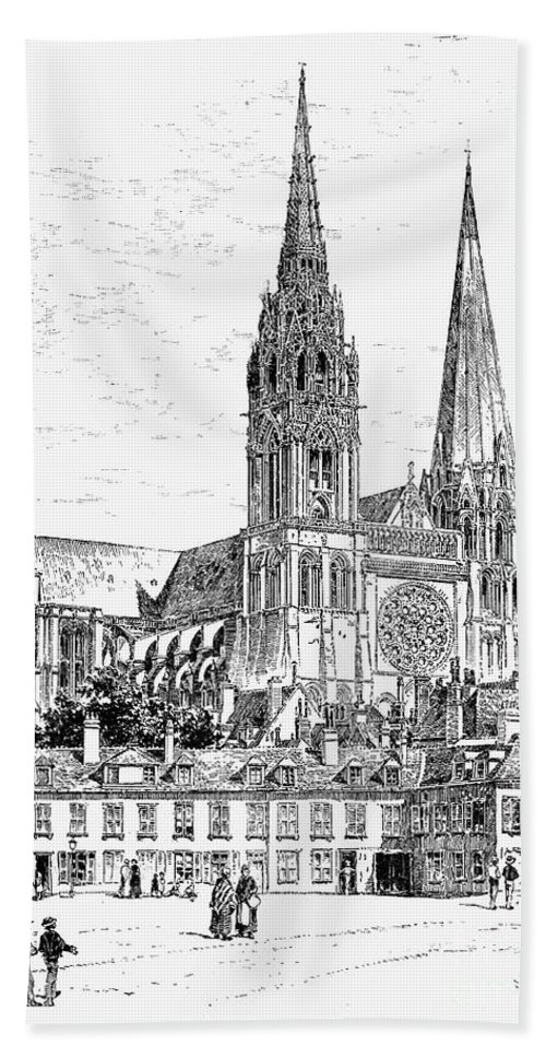 12th Century Bath Sheet featuring the photograph Chartres Cathedral by Granger