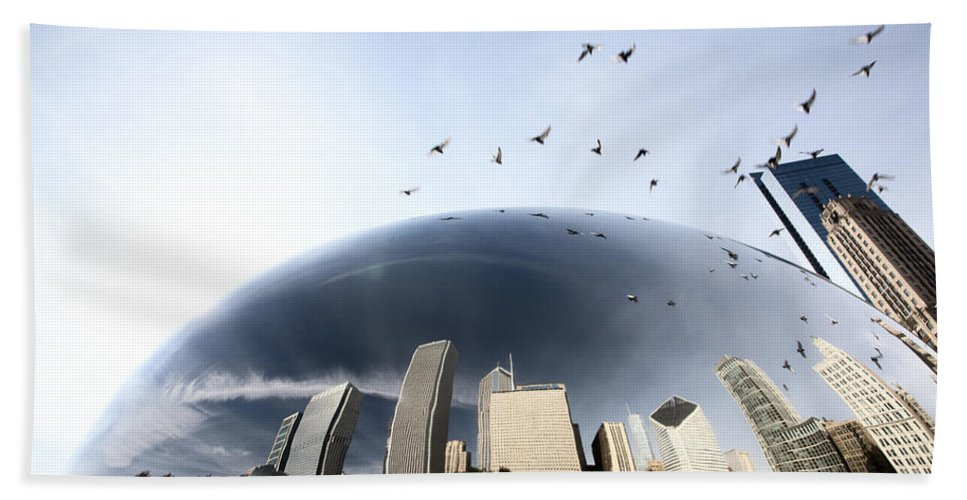 Cityscape Hand Towel featuring the digital art Chicago Cityscape The Bean by Mark Duffy