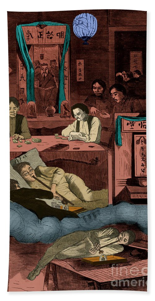 Art Hand Towel featuring the photograph Chinatown Opium Den by Photo Researchers