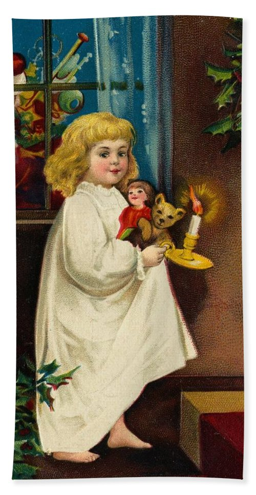 Christmas Card Hand Towel featuring the painting Christmas Card by American School